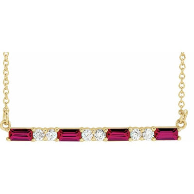 "14K Yellow Chatham® Created Ruby & 1/5 CTW Diamond Bar 16-18"" Necklace"
