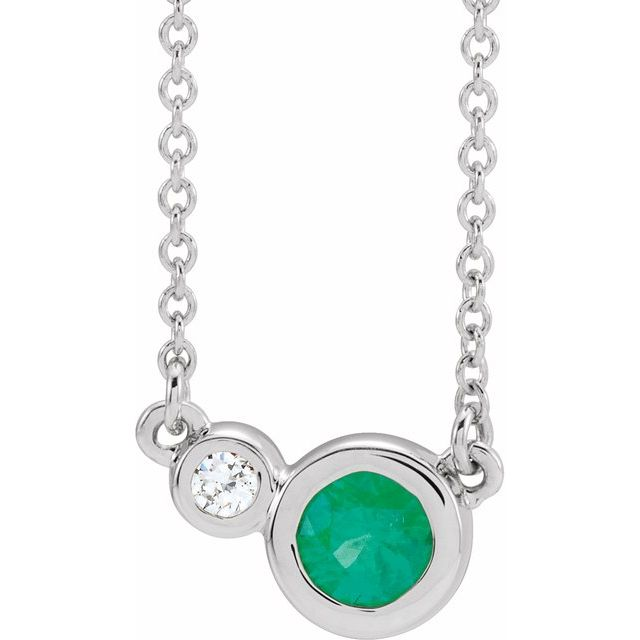 "Sterling Silver Chatham® Created Emerald & .02 CTW Diamond 18"" Necklace"