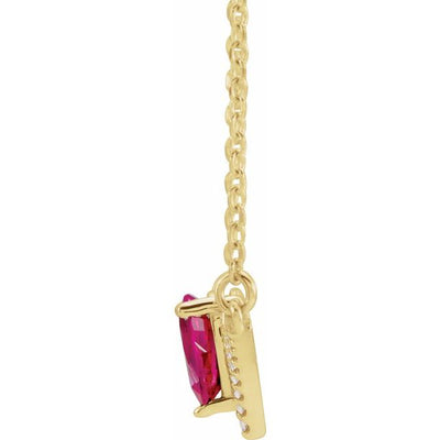 "14K Yellow Ruby & .06 CTW Diamond 16"" Necklace"
