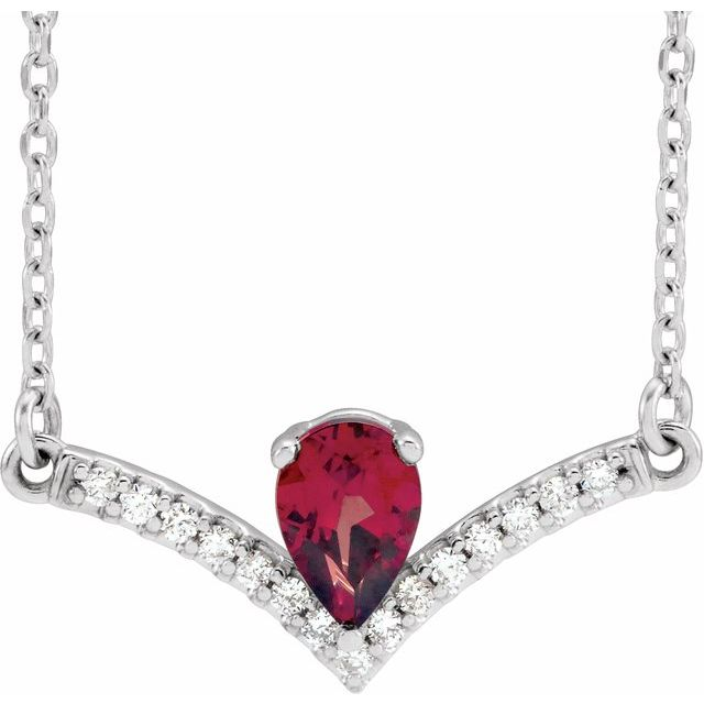 "14K White Mozambique Garnet & .06 CTW Diamond 18"" Necklace"