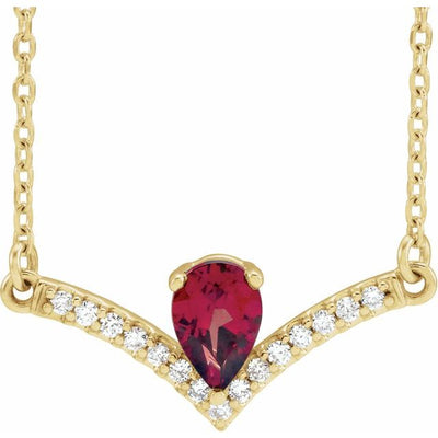"14K Yellow Mozambique Garnet & .06 CTW Diamond 16"" Necklace"