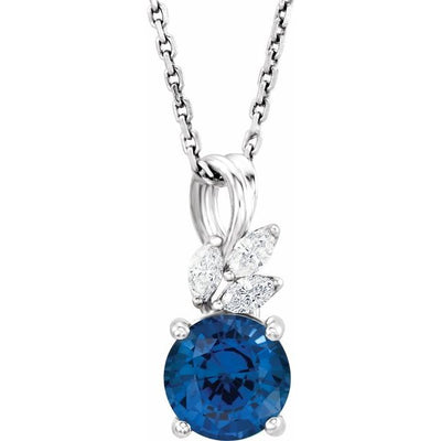 "14K White Chatham® Created Blue Sapphire & 1/10 CTW Diamond 16-18"" Necklace"