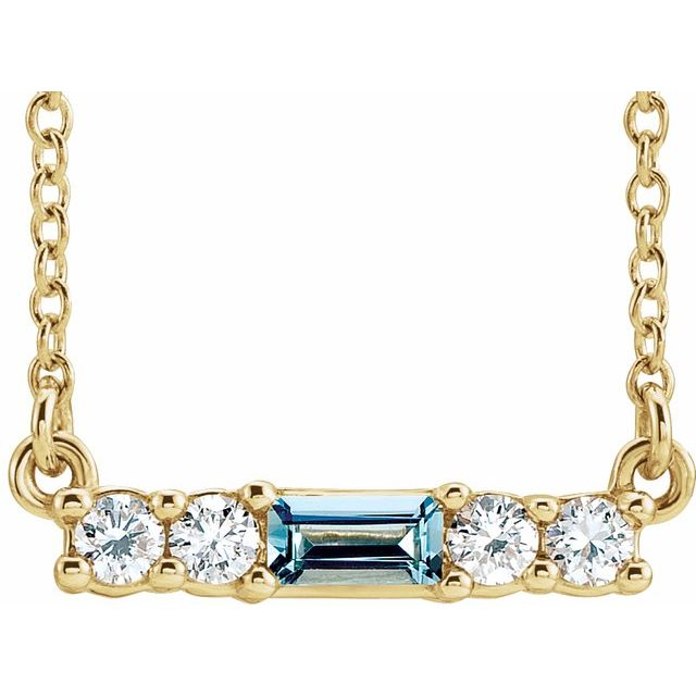 "14K Yellow Aquamarine & 1/5 CTW Diamond 16"" Necklace"