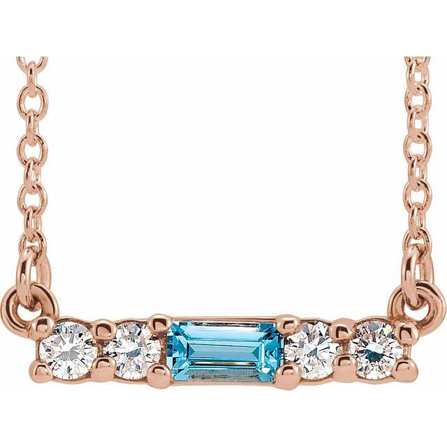 "14K Rose Blue Zircon & 1/5 CTW Diamond 16"" Necklace"
