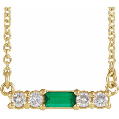 "14K Yellow Emerald & 1/5 CTW Diamond 18"" Necklace"