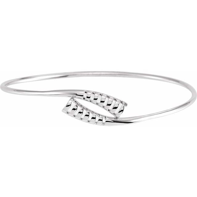 "14K White 16.5 mm Bypass Bangle 7"" Bracelet"