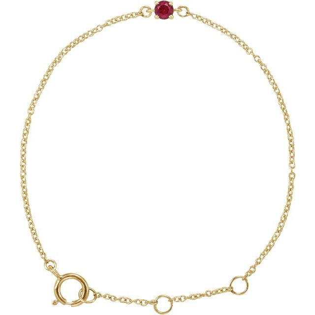 "14K Yellow Imitation Ruby Youth Birthstone 4 1/2-5 1/2"" Bracelet"