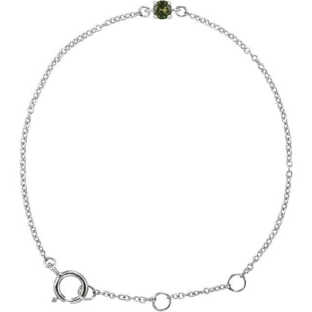 "14K White Imitation Peridot Youth Birthstone 4 1/2-5 1/2"" Bracelet"