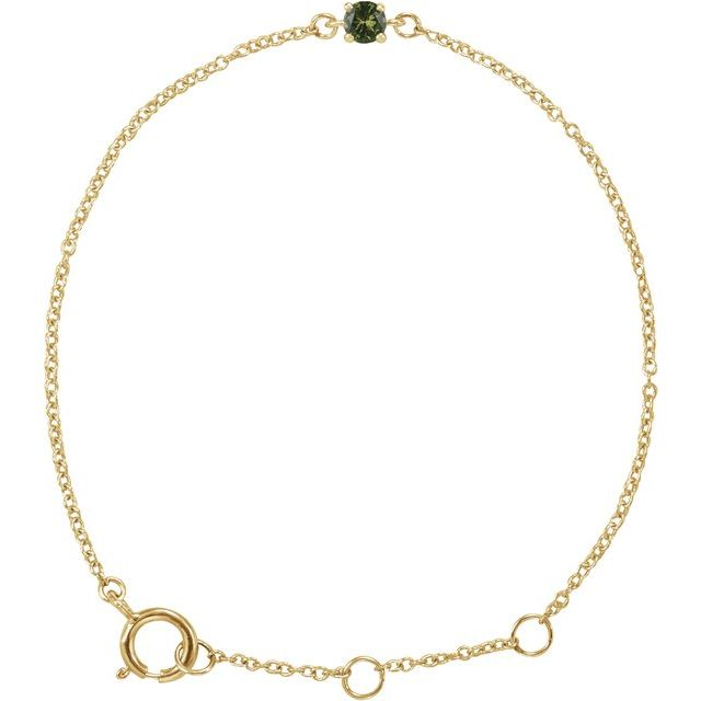 "14K Yellow Imitation Peridot Youth Birthstone 4 1/2-5 1/2"" Bracelet"