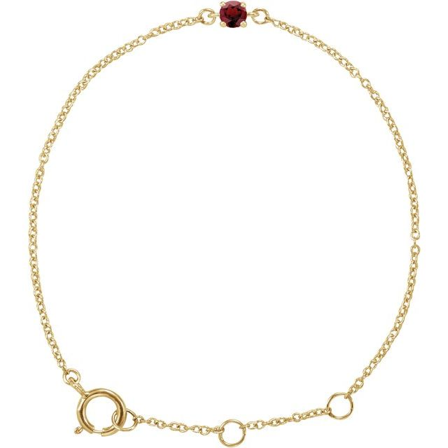 "14K Yellow Imitation Mozambique Garnet Youth Birthstone 4 1/2-5 1/2"" Bracelet"