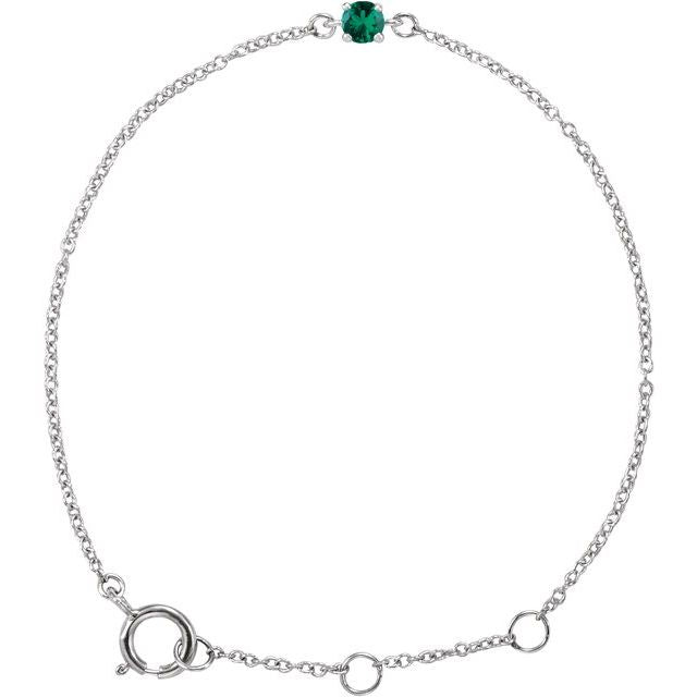 "14K White Imitation Emerald Youth Birthstone 4 1/2-5 1/2"" Bracelet"