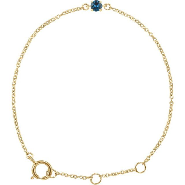 "14K Yellow Imitation Blue Zircon Youth Birthstone 4 1/2-5 1/2"" Bracelet"