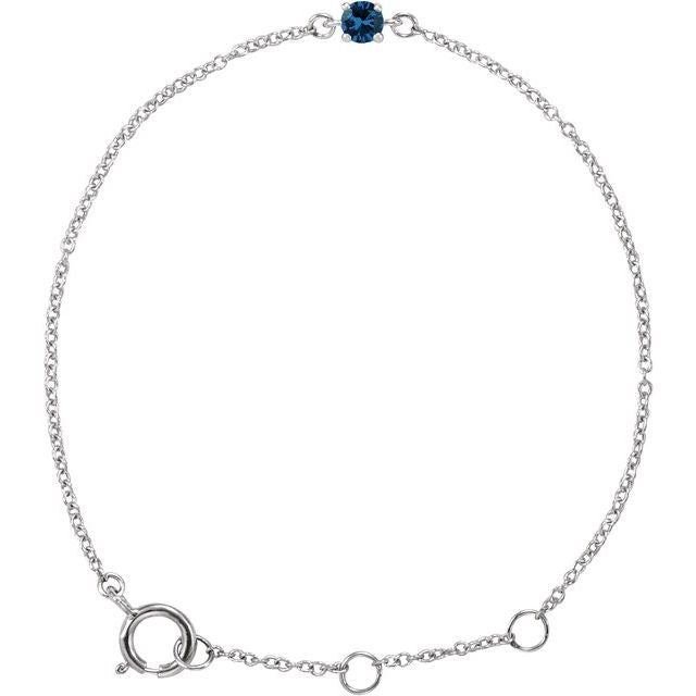 "14K White Imitation Blue Sapphire Youth Birthstone 4 1/2-5 1/2"" Bracelet"