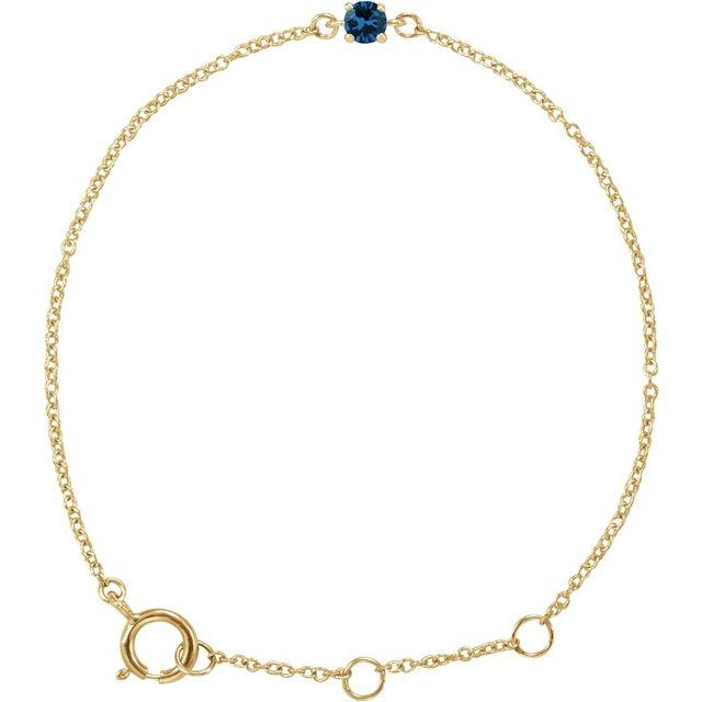 "14K Yellow Imitation Blue Sapphire Youth Birthstone 4 1/2-5 1/2"" Bracelet"
