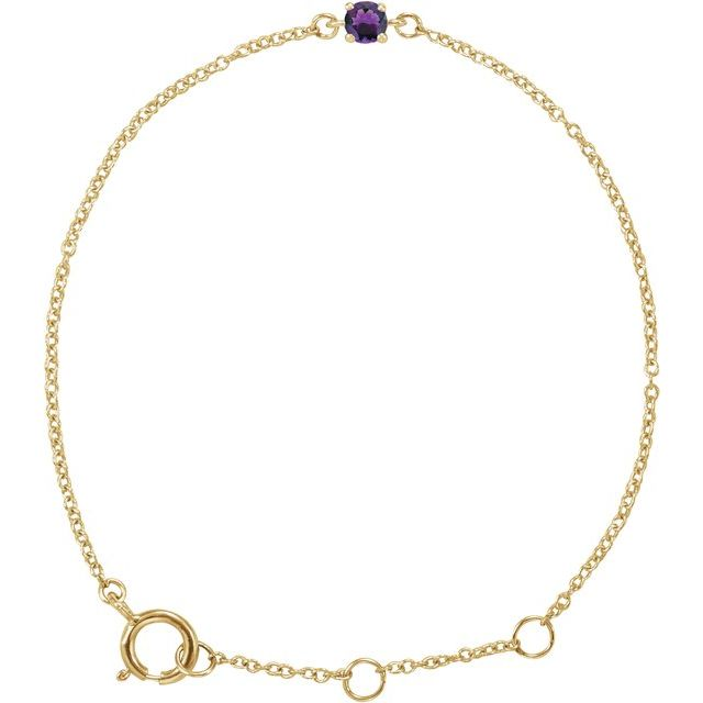"14K Yellow Imitation Amethyst Youth Birthstone 4 1/2-5 1/2"" Bracelet"