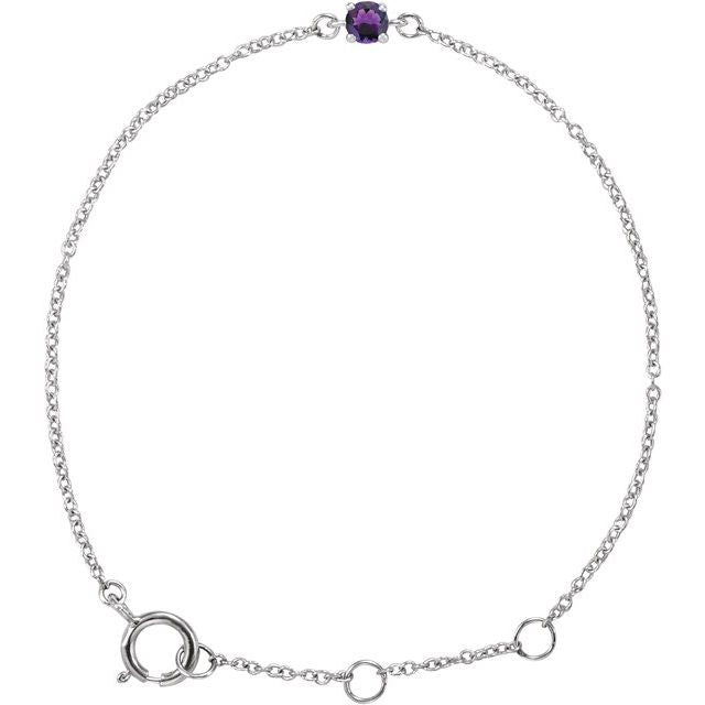 "14K White Imitation Amethyst Youth Birthstone 4 1/2-5 1/2"" Bracelet"