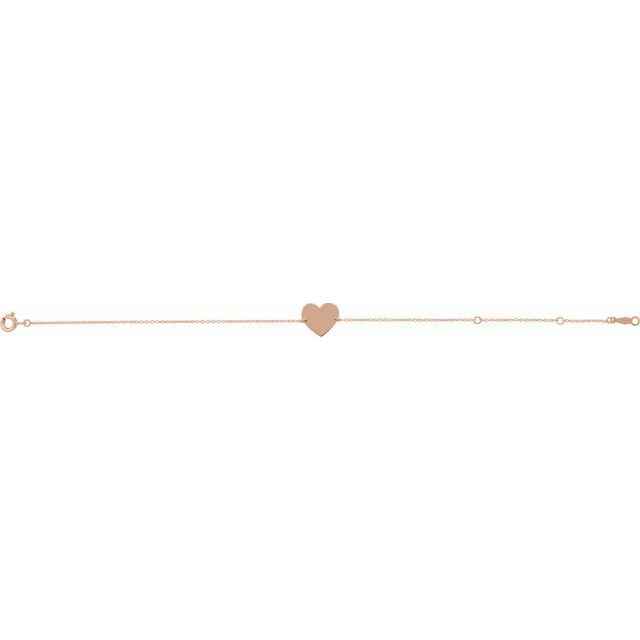 "14K Rose 7-8"" Heart Shaped Bracelet"