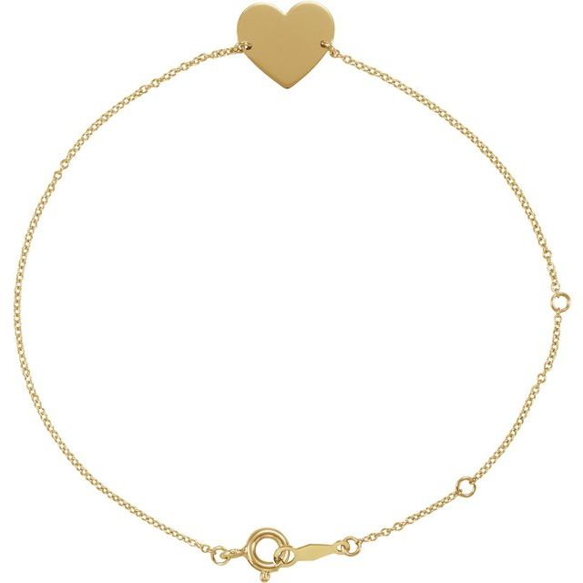 "14K Yellow 7-8"" Heart Shaped Bracelet"