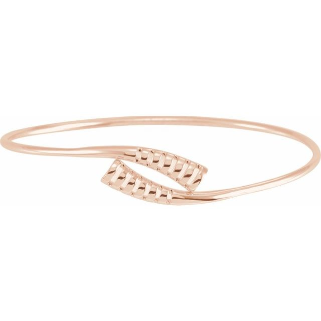 "14K Rose 16.5 mm Bypass Bangle 7"" Bracelet"