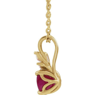 "14K Yellow Chatham® Created Ruby & 1/10 CTW Diamond 16-18"" Necklace"