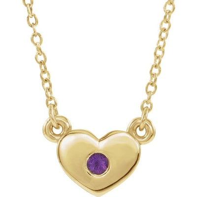 "14K Yellow Amethyst Heart 16"" Necklace"