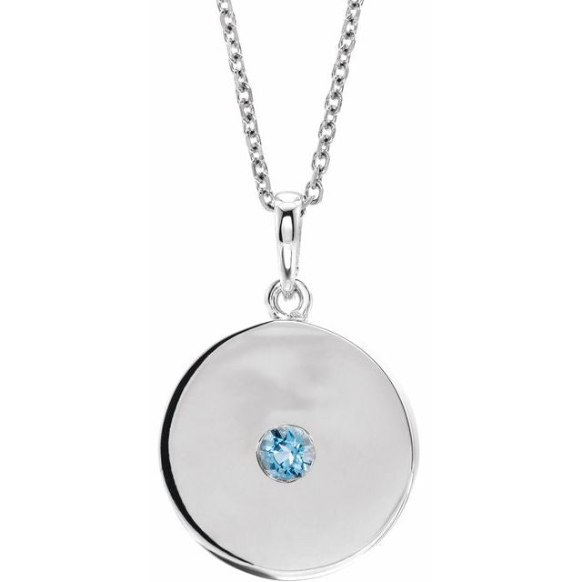 "Sterling Silver Aquamarine Disc 16-18"" Necklace"