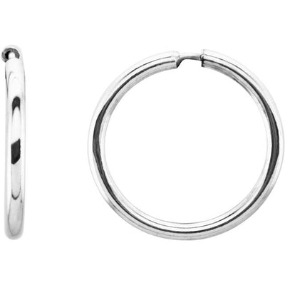 Sterling Silver 13 mm Endless Hoop Tube Earrings
