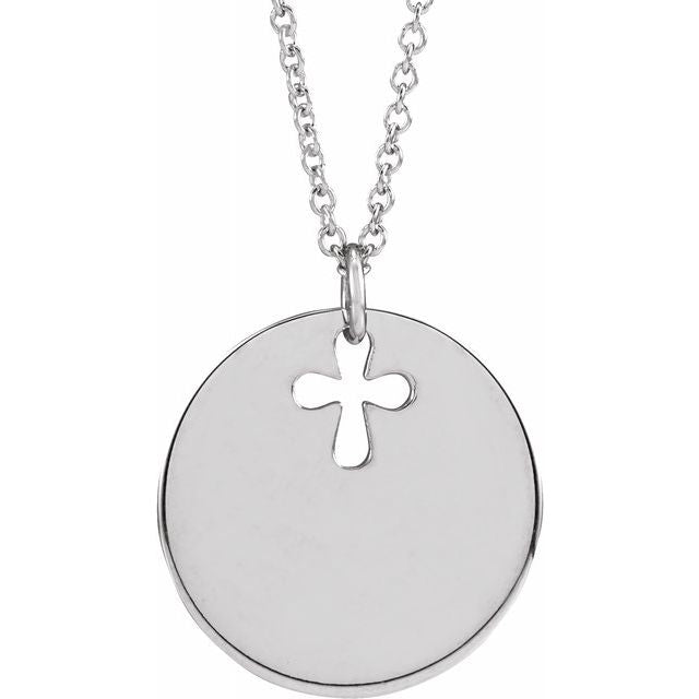 "14K White Pierced Cross Engravable Disc 16-18"" Necklace"