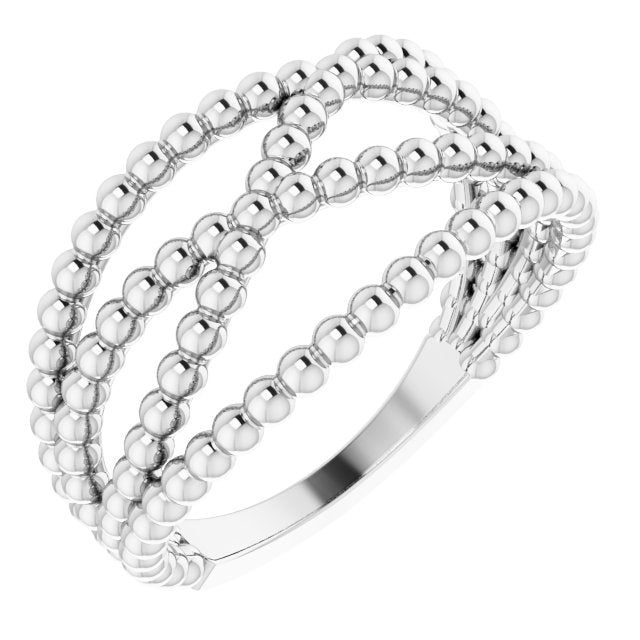 Sterling Silver Beaded Criss-Cross Ring