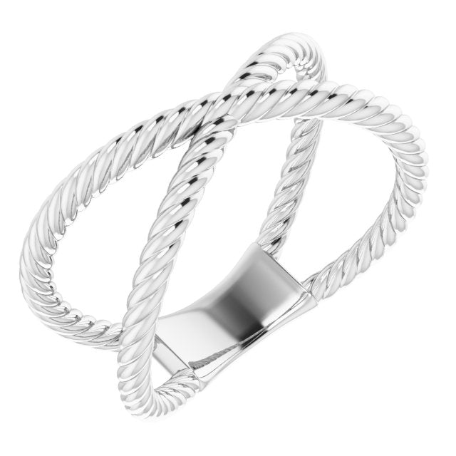 Sterling Silver Criss-Cross Rope Ring