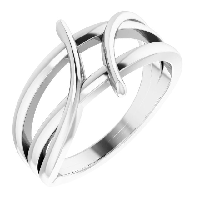 Sterling Silver 12.4 mm Freeform Bypass Ring
