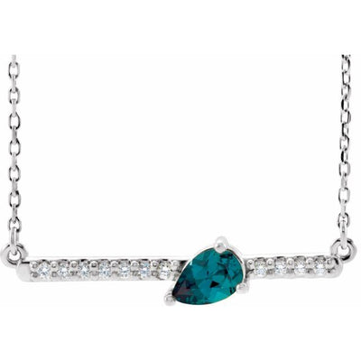 "Sterling Silver Chatham® Lab-Created Alexandrite & 1/10 CTW Diamond Bar 16"" Necklace"