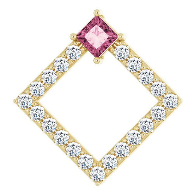 14K Yellow Pink Tourmaline & 3/8 CTW Diamond Pendant