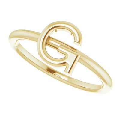 14K Yellow Initial G Ring