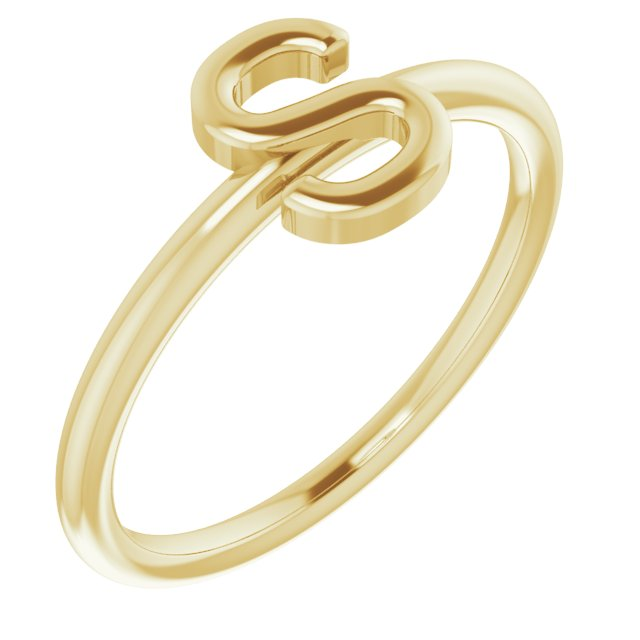 14K Yellow Initial S Ring