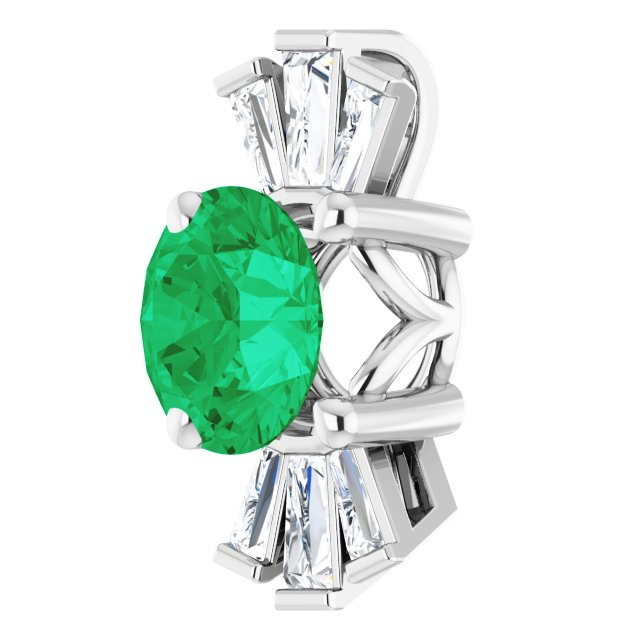 14K White Chatham® Created Emerald & 1/6 CTW Diamond Pendant