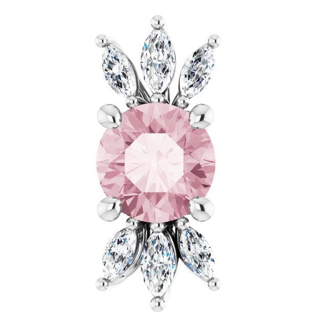 14K White Pink Morganite & 1/4 CTW Diamond Pendant