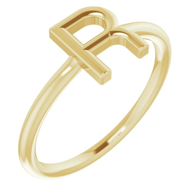 14K Yellow Initial R Ring