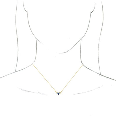 "14K Yellow Multi-Gemstone & .07 CTW Diamond Curved Bar 16"" Necklace"