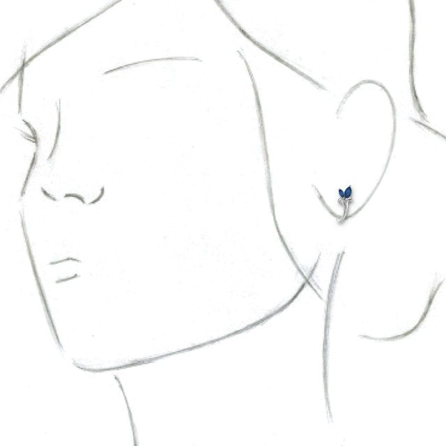 14K White Blue Sapphire Floral-Inspired J-Hoop Earrings