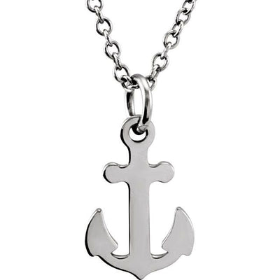 "Sterling Silver Tiny Posh® Petite Anchor 16-18"" Necklace"