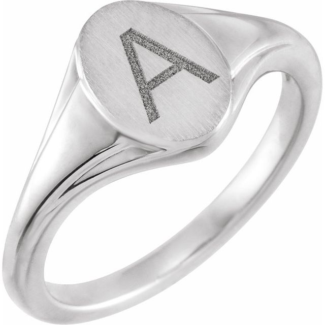 14K White 10.4x7.1 mm Oval Fluted Signet Ring