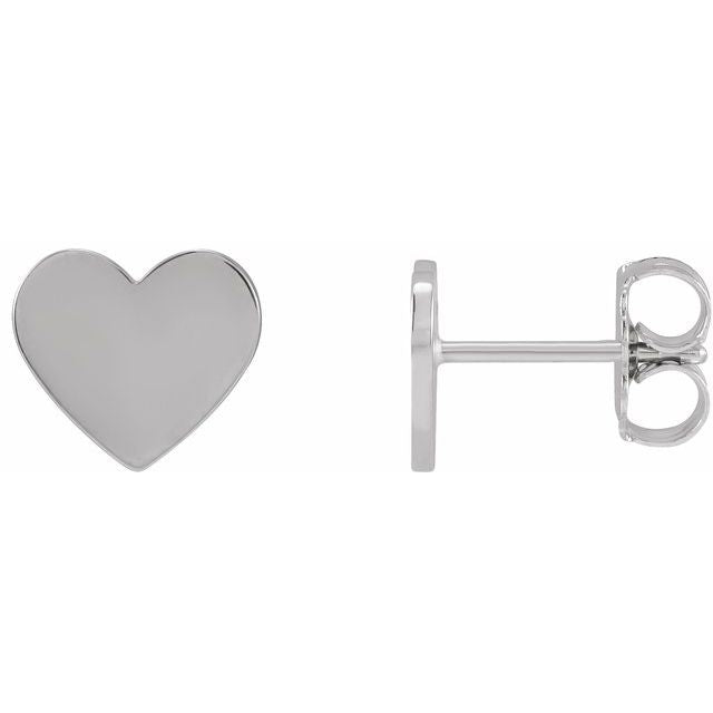 14K White Engravable Heart Earrings