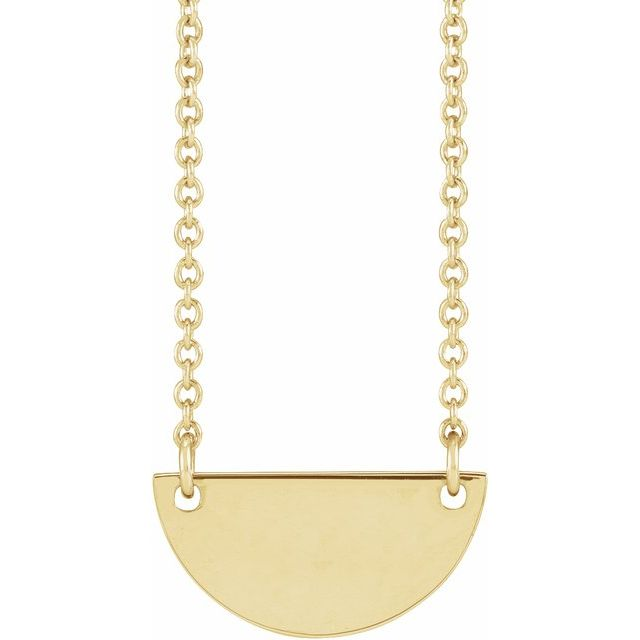 "14K Yellow Engravable Half Moon 16-18"" Necklace"