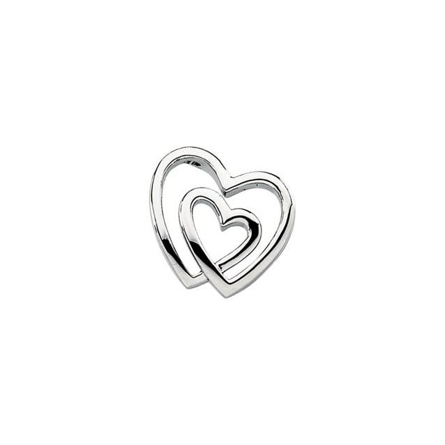 14K White Double Heart Pendant