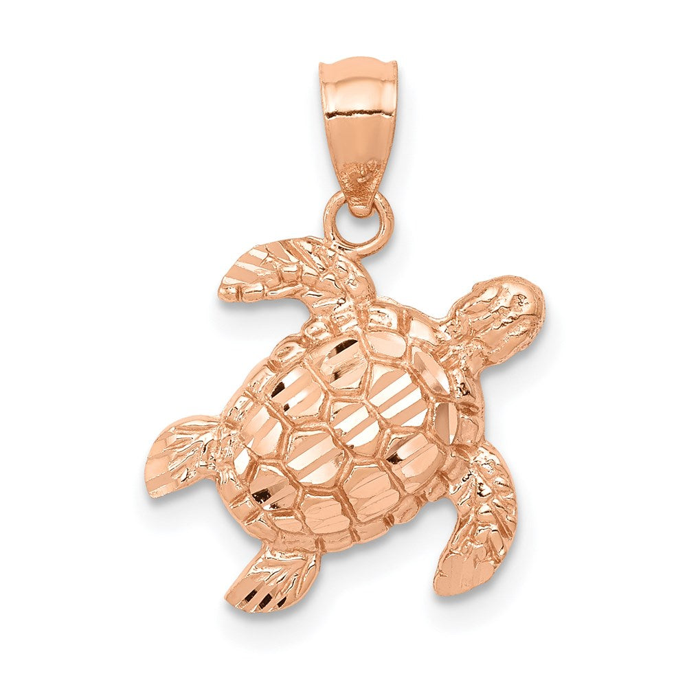 14k Rose Gold Diamond Cut Turtle Pendant - TreasureFineJeweler