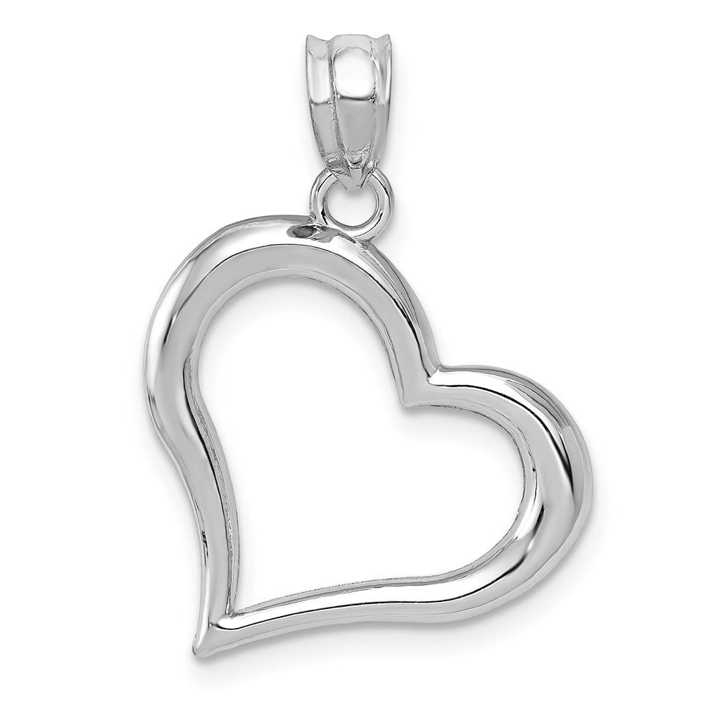 14k White Gold Polished Open Heart Pendant - TreasureFineJeweler