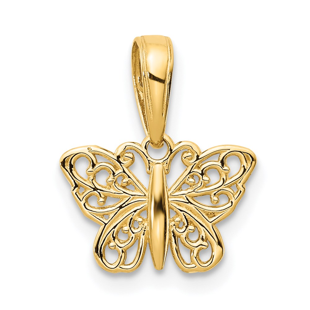 14k Polished Filigree Butterfly Charm - TreasureFineJeweler