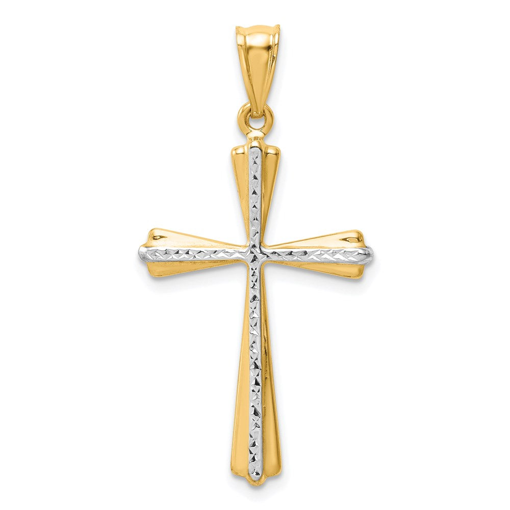 14k Two-Tone Diamond Cut Cross Pendant - TreasureFineJeweler