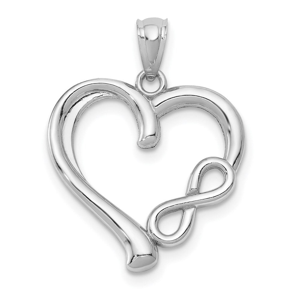 14k White Gold Polished Small Infinity Heart Pendant - TreasureFineJeweler